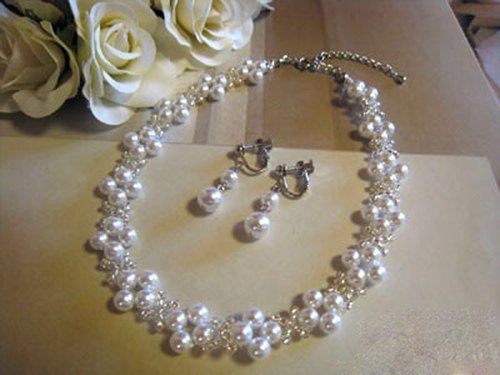 Pearl Choker & Earrings / MA : White Bridal*