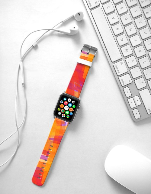 Apple Watch Series 1 , Series 2, Series 3 - Abstract Art Orange Watch Strap Band for Apple Watch / Apple Watch Sport - 38 mm / 42 mm avilable