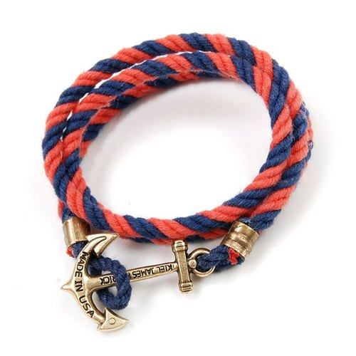 Plain-me exclusive agent Kiel James Patrick anchor rope woven bracelet (multi-turn) (KIEL2101 red and blue)