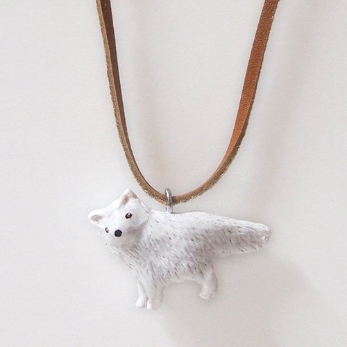 Small arctic fox hand-painted necklace / pendant Arctic fox handmade necklace
