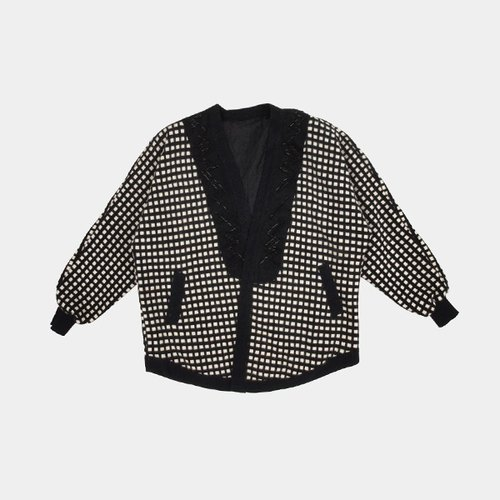 │moderato│ black and white checkered jacquard embroidered sweater jacket collar vintage retro │ Forest. England. Art youth