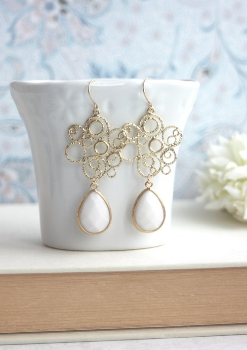 Air bubbles gilded thread earrings