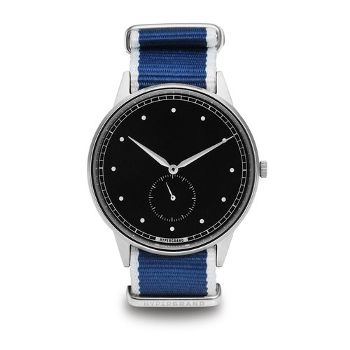 HYPERGRAND - Small second hand series - silver black dial blue twill watch