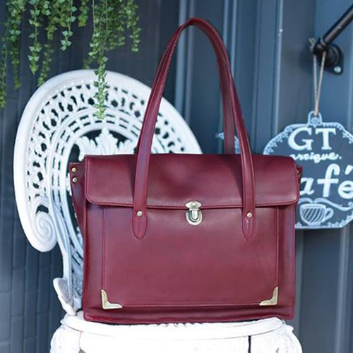 Faith full leather bag - red