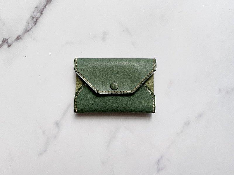 手工縫製復古黑色刷白色羊皮名片卡夾