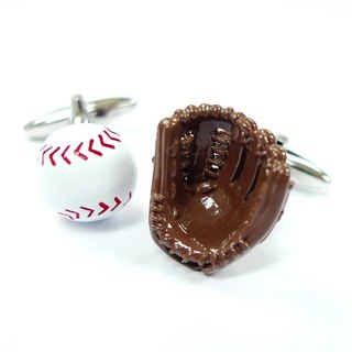 Baseball and baseball glove cufflinks Baseball Cuffink