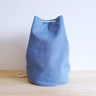 Denim blue medium sailor bucket (round) beam shoulder and back backpack