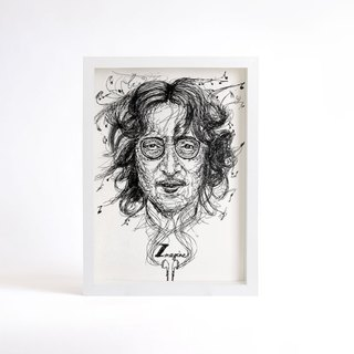 Miss you, John lennon, decor print,  Black and white art , Ink drawing John lennon  poster, Beatles art wall decor,wood frame, A4