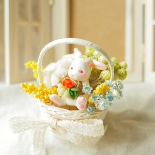 Sweet Dream ☆ bionic more meat - forest rabbit with flower basket / wedding gift birthday gift small objects sisters