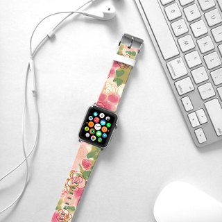 Apple Watch Series 1 , Series 2, Series 3 - Fancy Rose Floral pattern Watch Strap Band for Apple Watch / Apple Watch Sport - 38 mm / 42 mm avilable