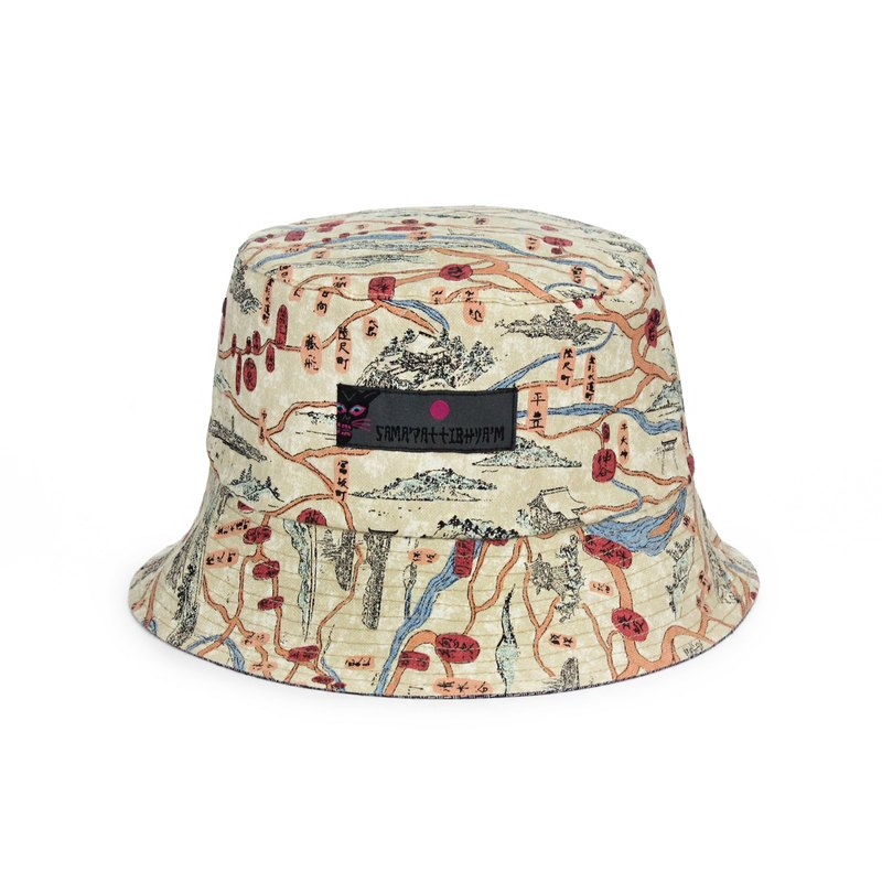 SAMA PATTIBHYA M® 235C Embroidery Reversible Bucket Hat old cloth  embroidered   Japanese-style double-sided wear full version flower hat  (beige character ... abac95b9e1f