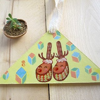 Hand-painted Christmas ornaments - happy feet elk