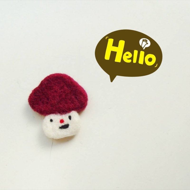 Mew in Wonderland ─ burgundy wool felt melancholy mushroom head mushroom mushroom pins