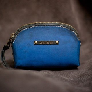 Leather handmade leather purse Blue Black