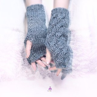 ✡ antique cable knit half finger gloves - Hunter ✡ handmade knit Long plain gray