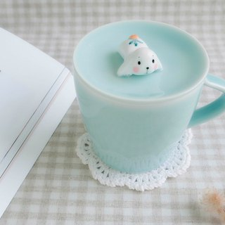 Three shallow ceramic | excited Meng radish rabbit | original creative small bunny covered glass special birthday gift