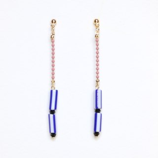 stripe - blue  beads earrings