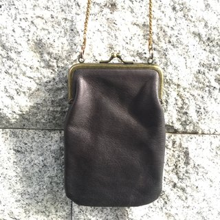 Sienna leather antique small mouth gold