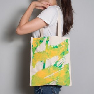 Hand-painted handprints Peibu bag [white] fly-sided pattern hand / shoulder