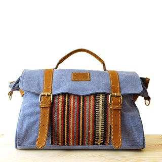 [Happa] Portable / hatchback dual-use messenger bags - hand-knotted kilim paragraph (Periwinkle tannin blue)