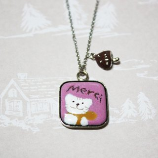 Thank you, Merci small forest mushrooms ---- cat enamel necklace