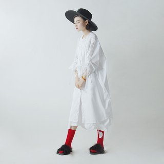 White cotton personality cardigan long shirt - imakokoni
