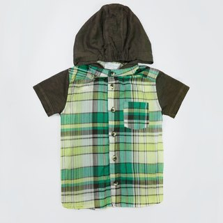 Hooded thin green Plaid Shirt
