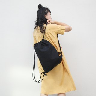 Canvas drawstring backpack-Black