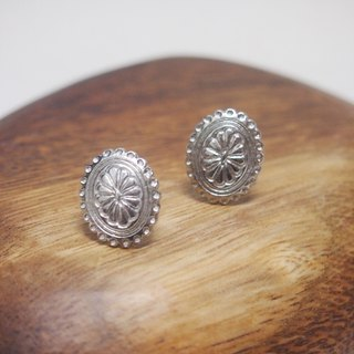 Button New Life [shield] retro earrings