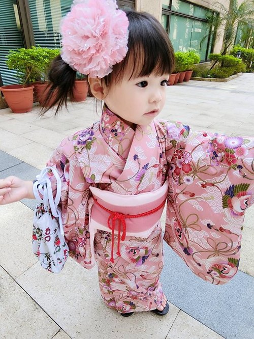 Angel Nina hand-made children's kimono Japanese-style wind and flower crane children's Edition party birthday cosplay