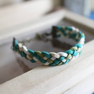 hand made bracelet-- korean synthetic leather【Green Nature】
