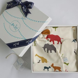 gujui organic cotton births Gift - (foot pants + hat) - Love Animals