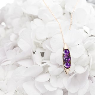 Amethyst Birthstone Necklace, Pea in a Pod Necklace, 3 Stone Trinity Necklace
