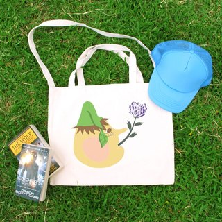 Eat flower illustration horizontal canvas bag