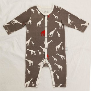 gujui love giraffe (gray) - organic cotton long-sleeved one-piece dress