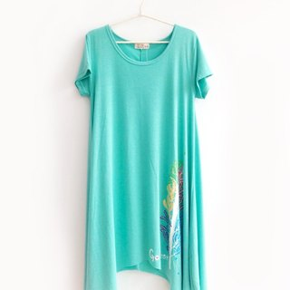 Dress with Dipped Hem-Aquamarine green