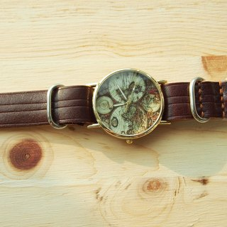 Handmade vegetable tanned leather strap with ancient Earth meter core