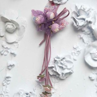 [MITHX] cherry color, three shell Jin, a small side clip brooch, styling hair accessories - Purple