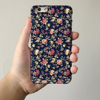 Black Floral pattern 3D Full Wrap Phone Case, available for  iPhone 7, iPhone 7 Plus, iPhone 6s, iPhone 6s Plus, iPhone 5/5s, iPhone 5c, iPhone 4/4s, Samsung Galaxy S7, S7 Edge, S6 Edge Plus, S6, S6 Edge, S5 S4 S3  Samsung Galaxy Note 5, Note 4, Note 3,  N