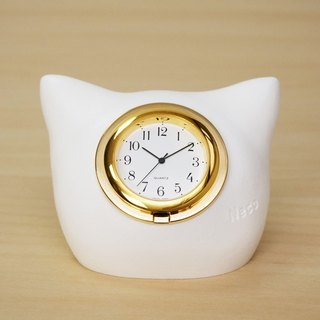 Kitten Head Table Clock - White Cat Nippon Seiko clock movement bell the cat