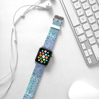 Apple Watch Series 1 , Series 2, Series 3 - Mandala Blue Floral pattern Watch Strap Band for Apple Watch / Apple Watch Sport - 38 mm / 42 mm avilable