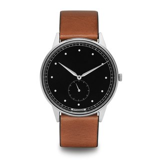 HYPERGRAND - Small Seconds Series - Silver Black Dial Honey Leather Watch