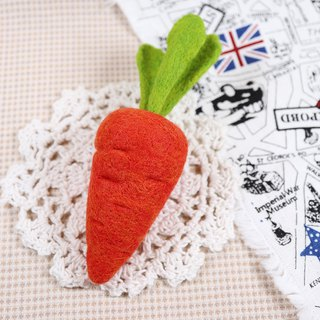 Wool felt brooch carrot