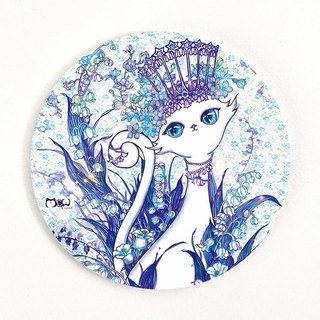 Good meow kawaii か わ い い hand-painted ceramic coaster ~ blue and white cat