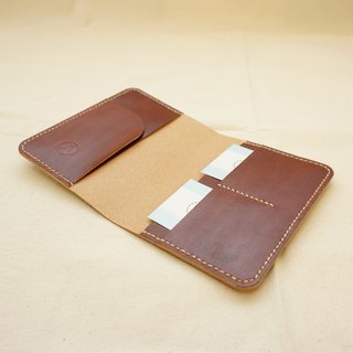 Hand dyed leather passport set notebook set - deep coffee