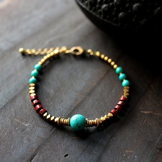 Muse natural wind series NO.180 blue turquoise red agate bracelet brass