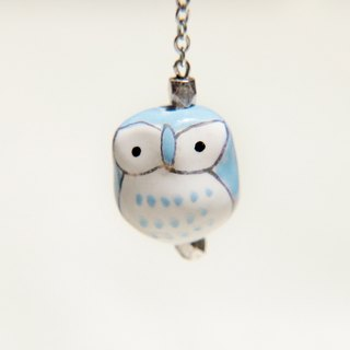 / Animals Forest / French design brass long chain necklace short - hand-painted ceramic owl