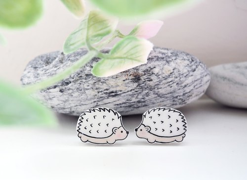 Coy little hedgehog handmade earrings anti-allergic ear pin painless ear clip