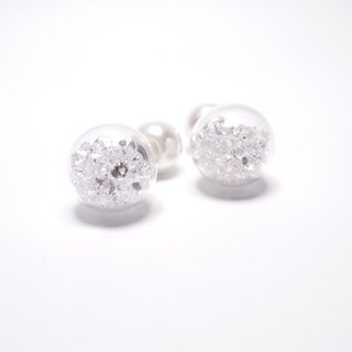 A Handmade front of white crystal glass ball with pearl earrings