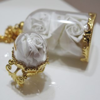 Glass Rose Necklace Earrings set - White Rose